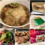 mummy trinh's really easy pho bo beef rice noodle soup recipe made from vifon's instant pho bo, beef balls, mushrooms, and lettuce