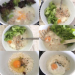 congee or rice porridge made from an instant vifon packet with an egg, vietnamese ham, and some greens into a warm breakfast meal
