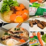 vifon vegetarian instant noodles prepared with carrot, egg, lettuce, and mushrooms